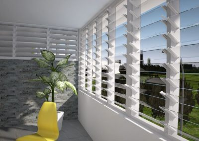 New Nako Louvres can enclose a balcony to extend your outdoor time while being protected from the weather.