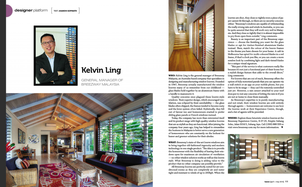 Breezway Louvre Windows in the Edge Magazine