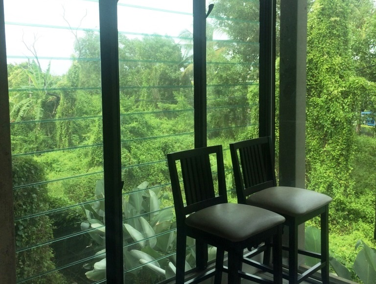 Uninterrupted views out onto greenery from architects office
